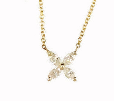 "14K Yellow Gold Marquis Diamond ""Flower"" Necklace"