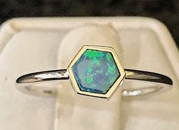 14K White Gold Hexagon Opal Doublet Ring