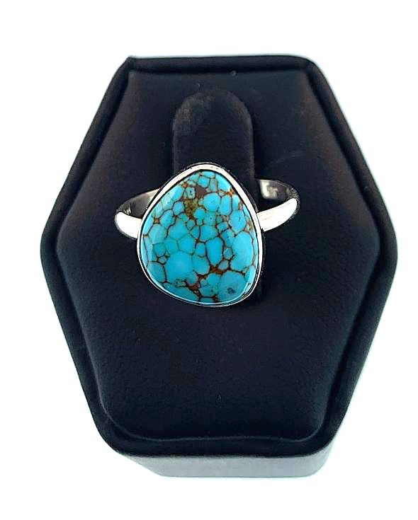 "Artisan Made Sterling Silver ""Nevada Blue"" Turquoise Ring"