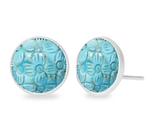 Petal 12mm Carved Turquoise Silver Stud Earrings