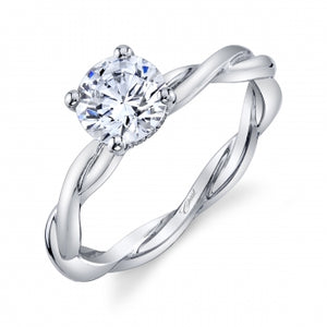 Coast Diamond Oval 14K White Gold Solitaire Engagement Ring w/ Hidden Halo