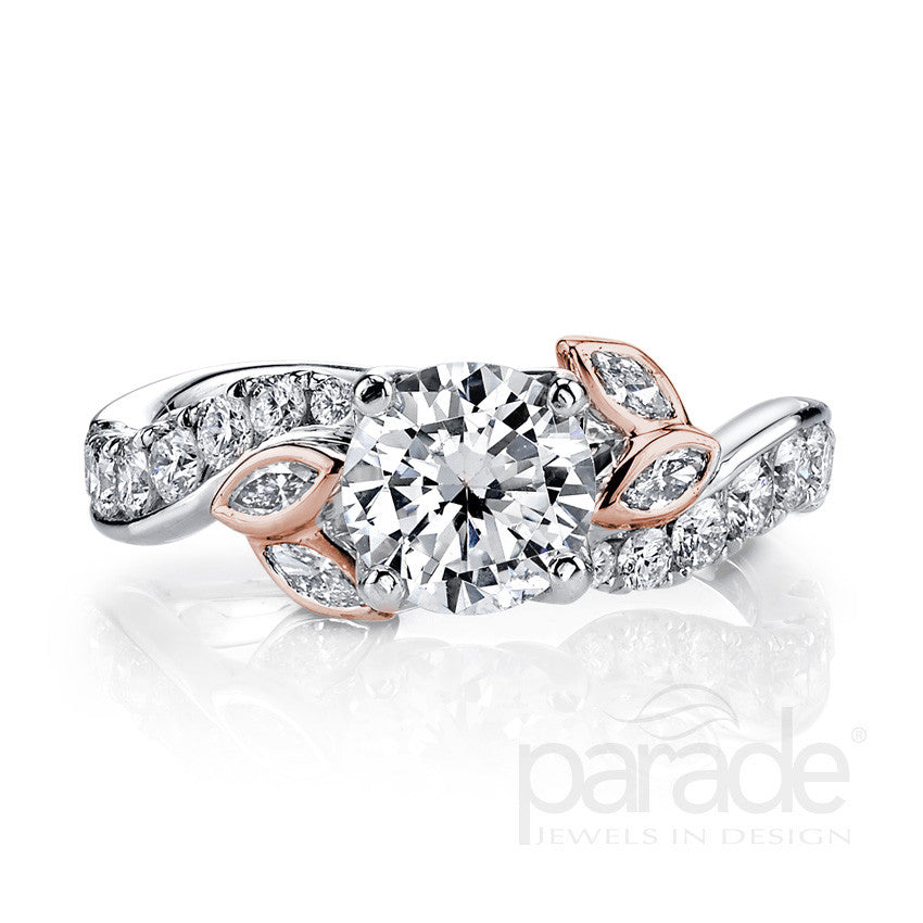 """Lyria"" 18K white and rose gold diamond engagement ring"