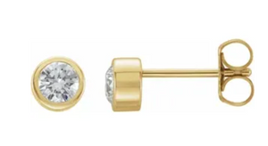 .10 CT TW 14K Yellow Gold Bezel Set Diamond Studs