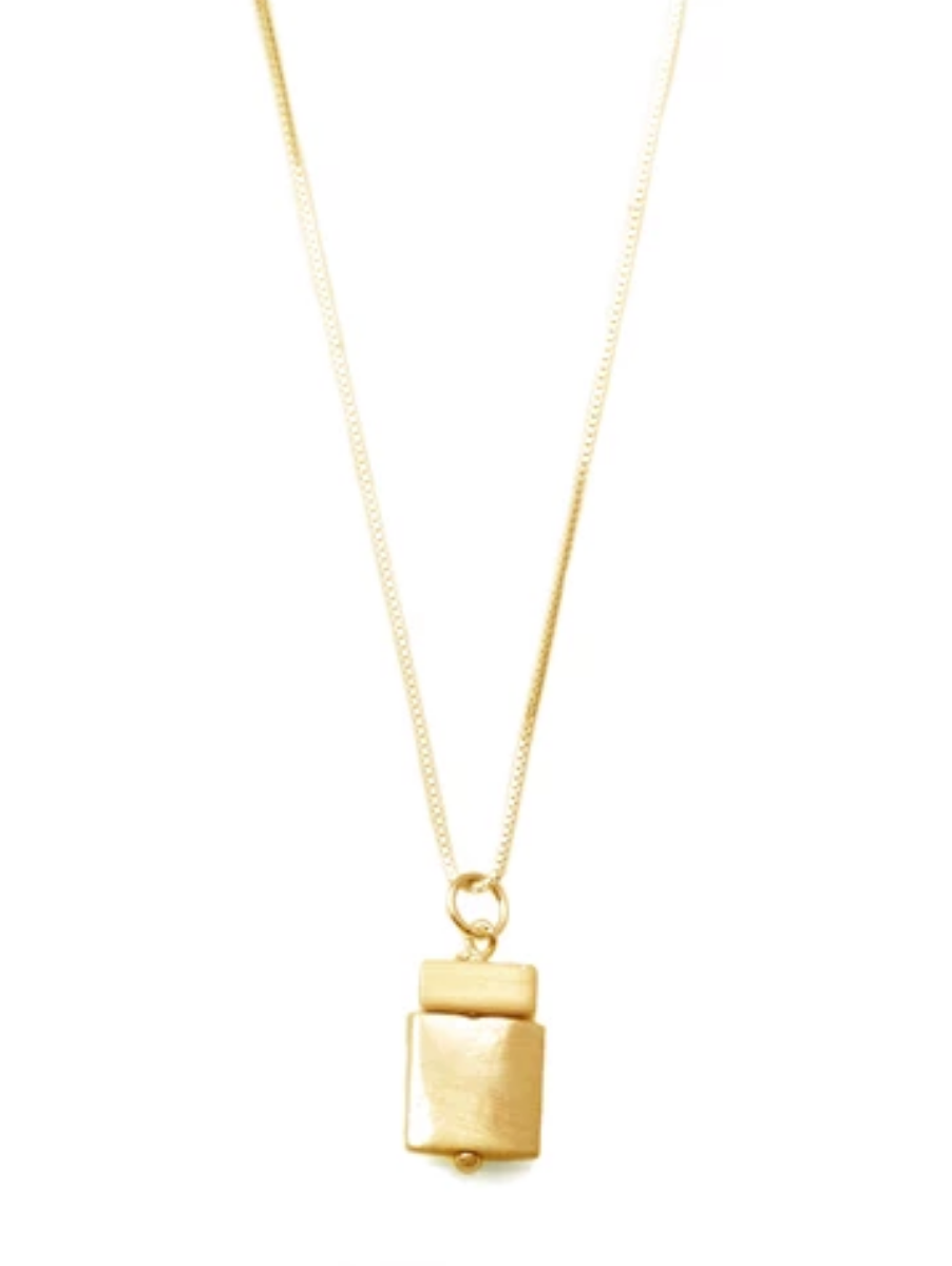 Tab & Square Gold Vermeil Necklace