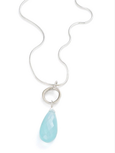 Silver Chalcedony Drop Necklace