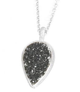 Black Druzy Adorn Petite Necklace