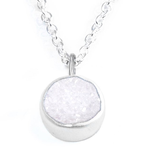 White Druzy Petal Necklace