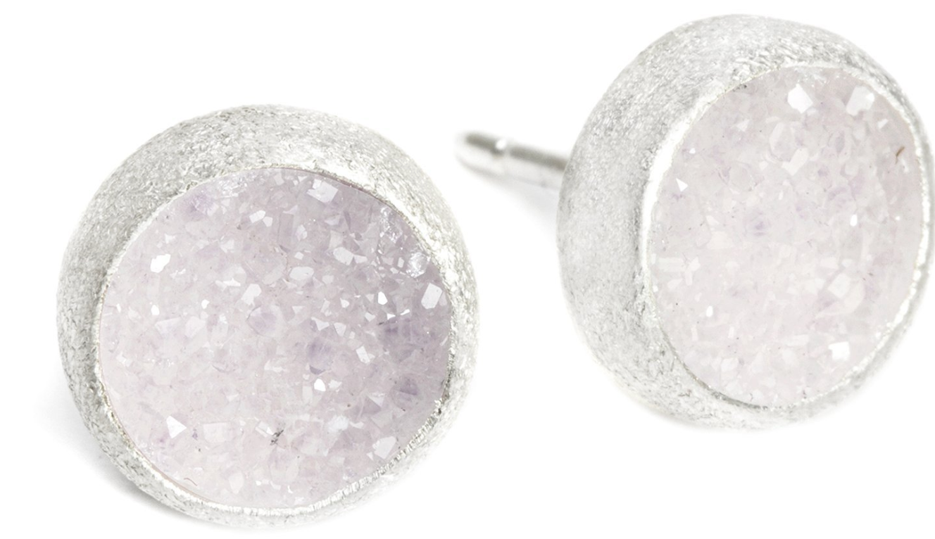 Sterling Silver White Druzy Studs