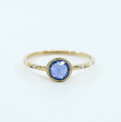 "Mason Grace ""Juliette"" Rose-Cut Blue Sapphire & Diamond Ring"