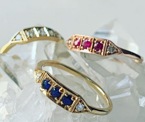"Mason Grace ""Ms Good bar"" Blue Sapphire & Diamond Ring"