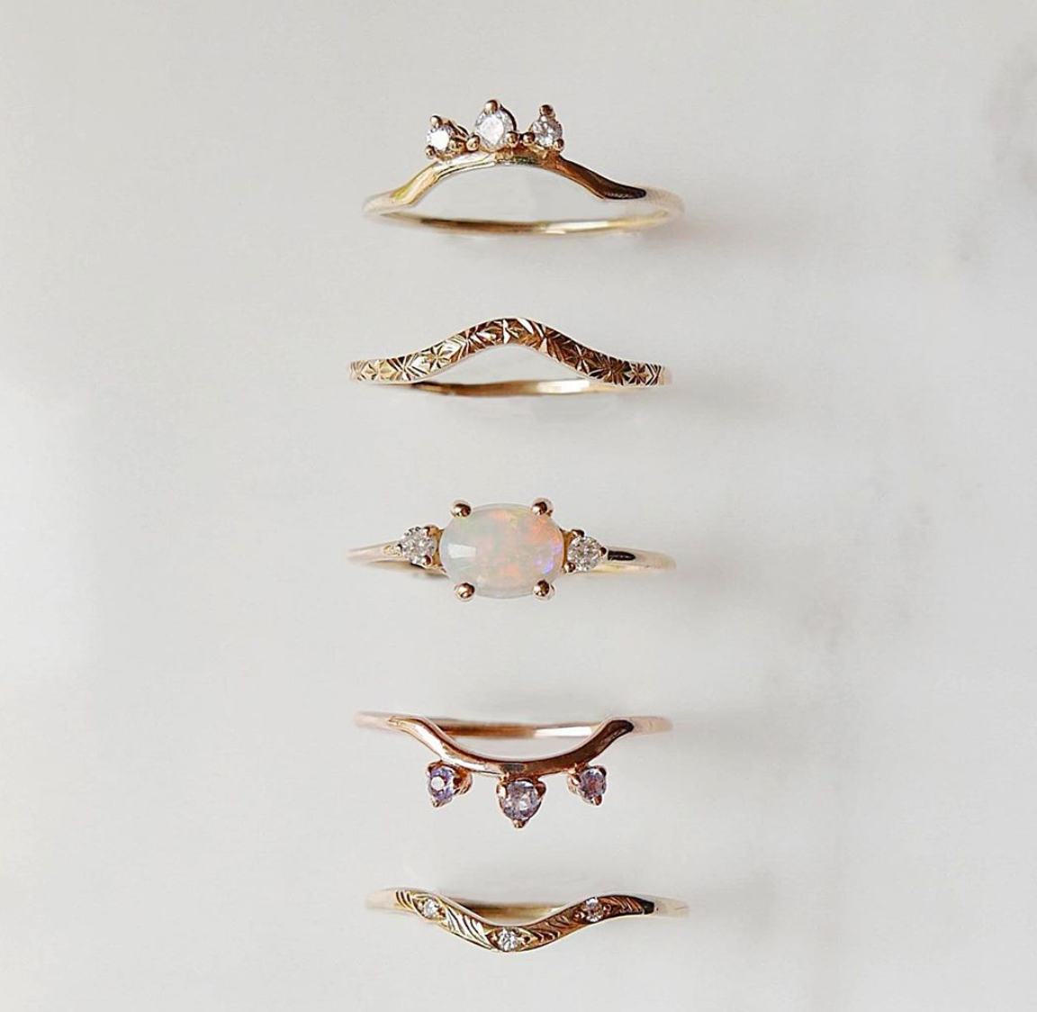 "Mason Grace ""Scattered Nesting"" 14K Rose Gold Diamond Band"