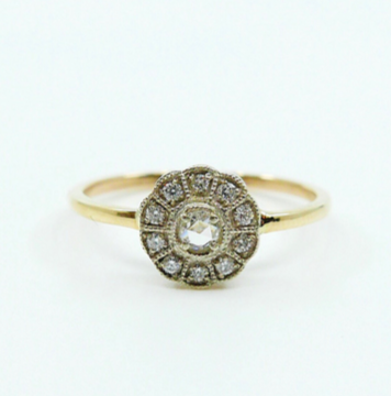 "Mason Grace ""Flora"" Two Tone Ros-Cut Diamond RIng"