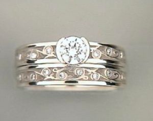 "Toby Pomeroy ""311 Studio"" Garden Gate 14K White Gold Diamond Band"