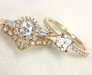Rose Cut Diamond Wedding Set