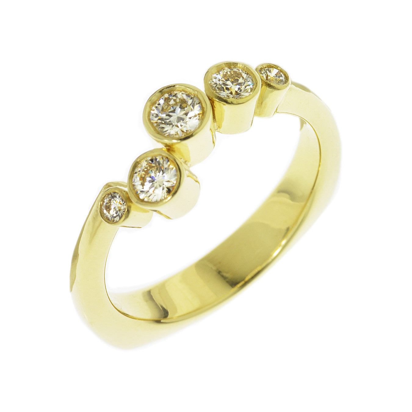 "Toby Pomeroy ""Elata"" 18K True Gold Diamond Engagement Ring"