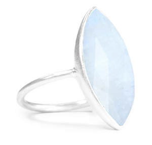 Sterling Silver Large Marquise Cut Moonstone Ring