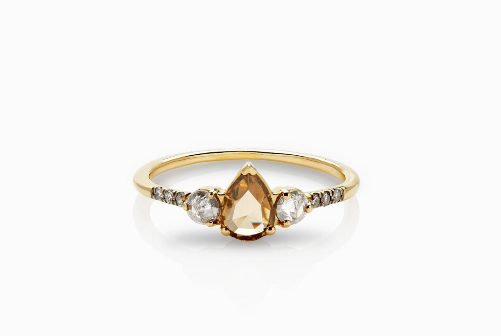 ManiaMania 14K Yellow Gold Pear Rose Cut Champagne Diamond Radiance Ring