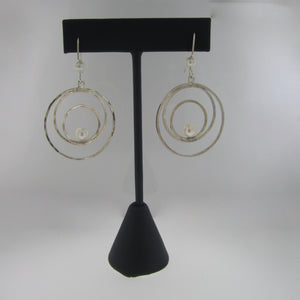Sterling Silver and Pearl Hoop Earrings