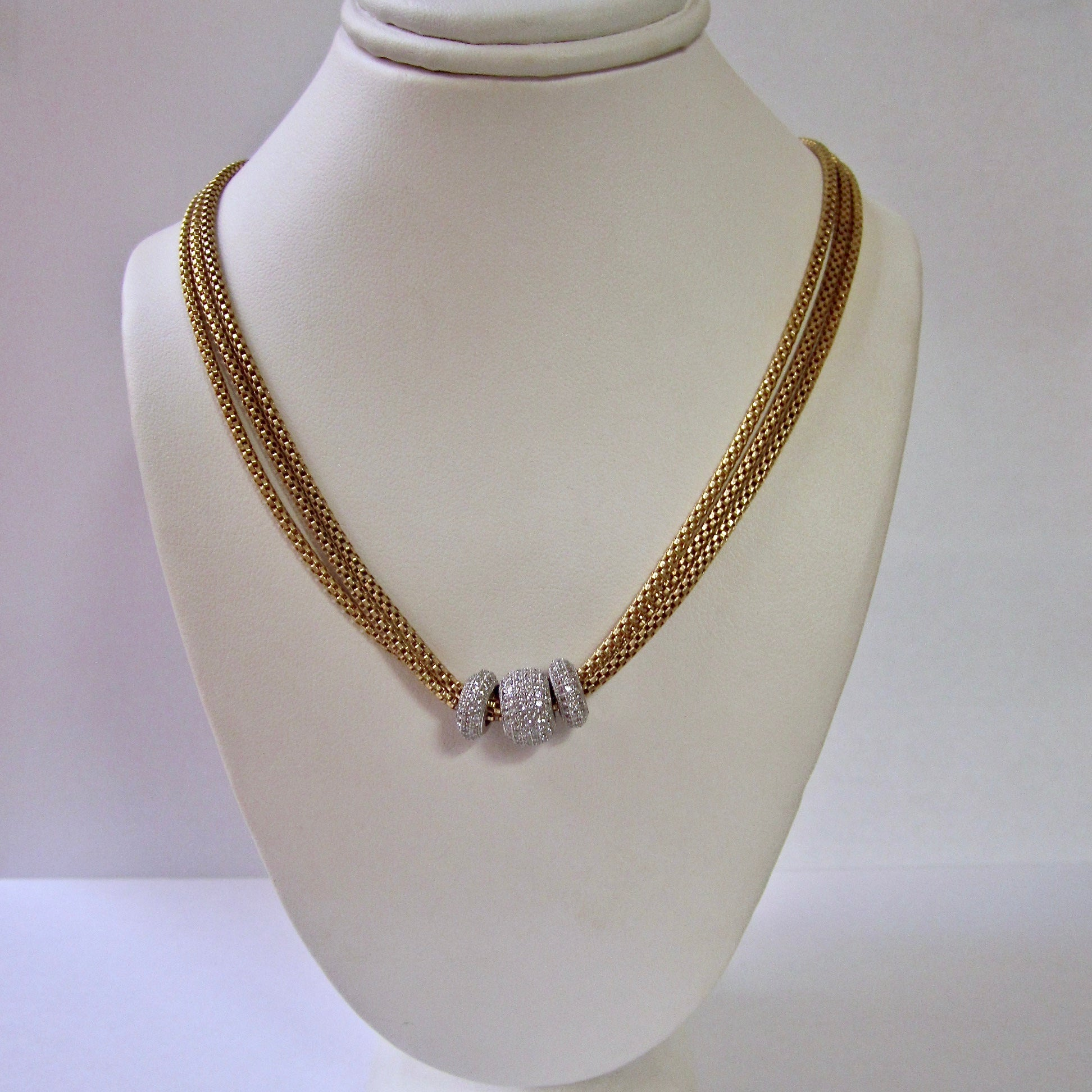 Three Strand Gold Plated Sterling Silver Necklace
