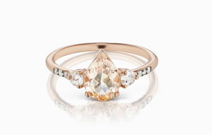 ManiaMania 14K Rose Gold Pear Cut Morganite Grand Radiance Ring