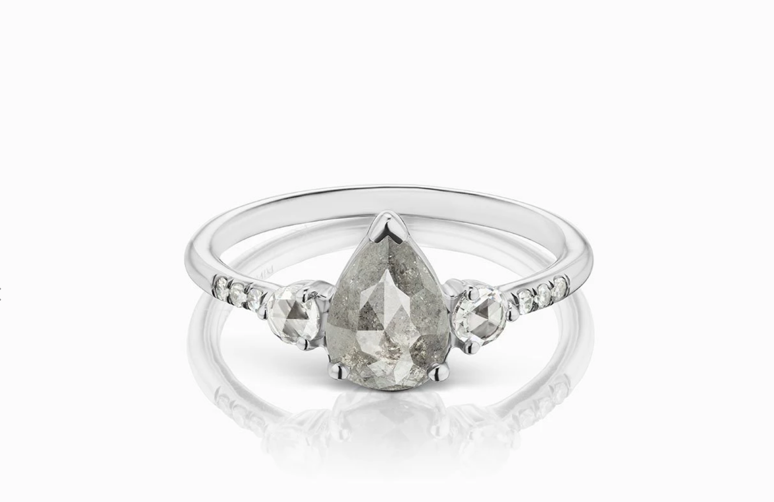 ManiaMania 14K White Gold Pear Rose Cut Diamond Grand Radiance Ring