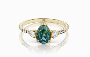 ManiaMania 14K Yellow Gold Pear Cut Bi-Color Sapphire Grand Radiance Ring