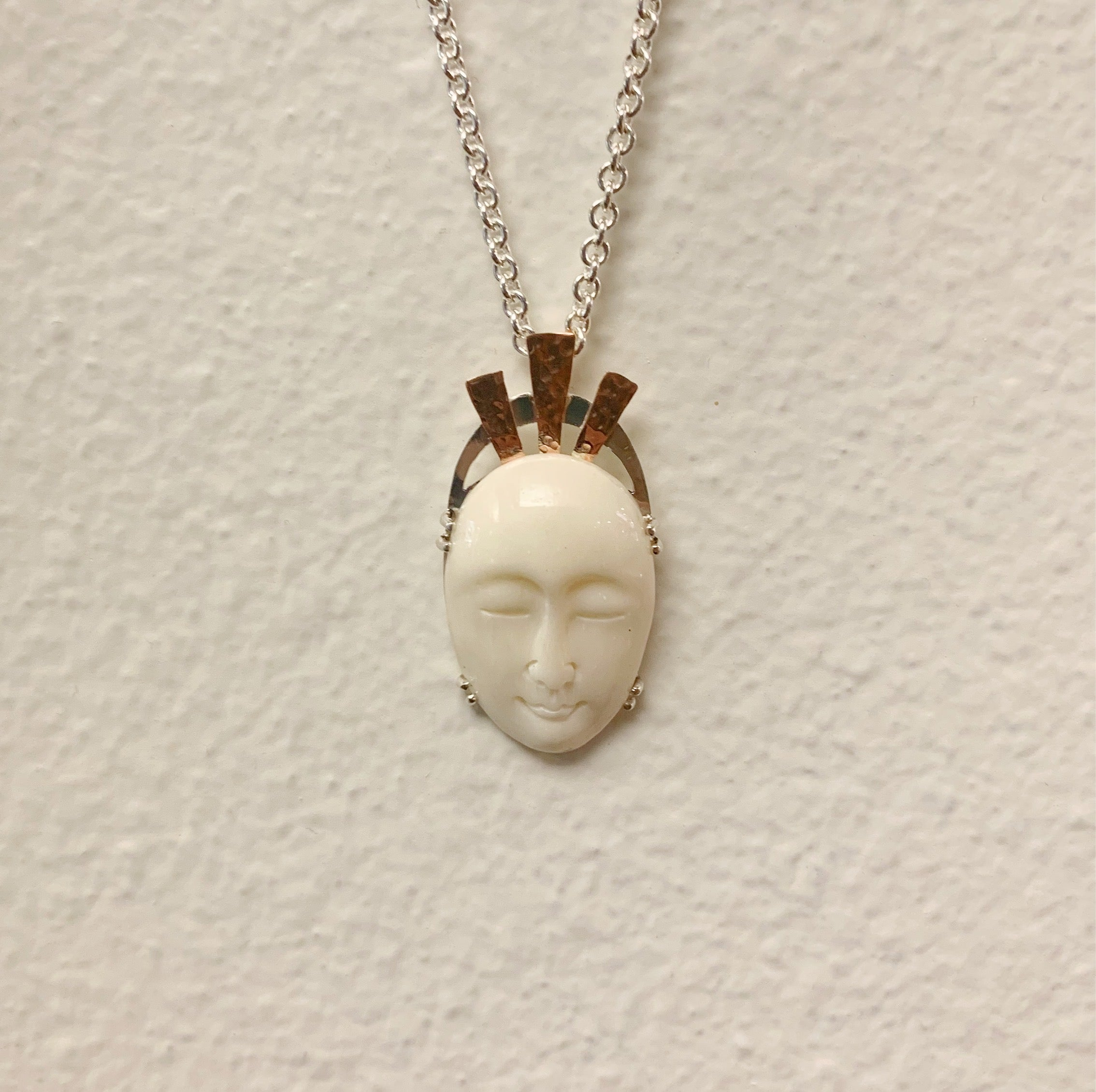 Carved Bone Face Necklace