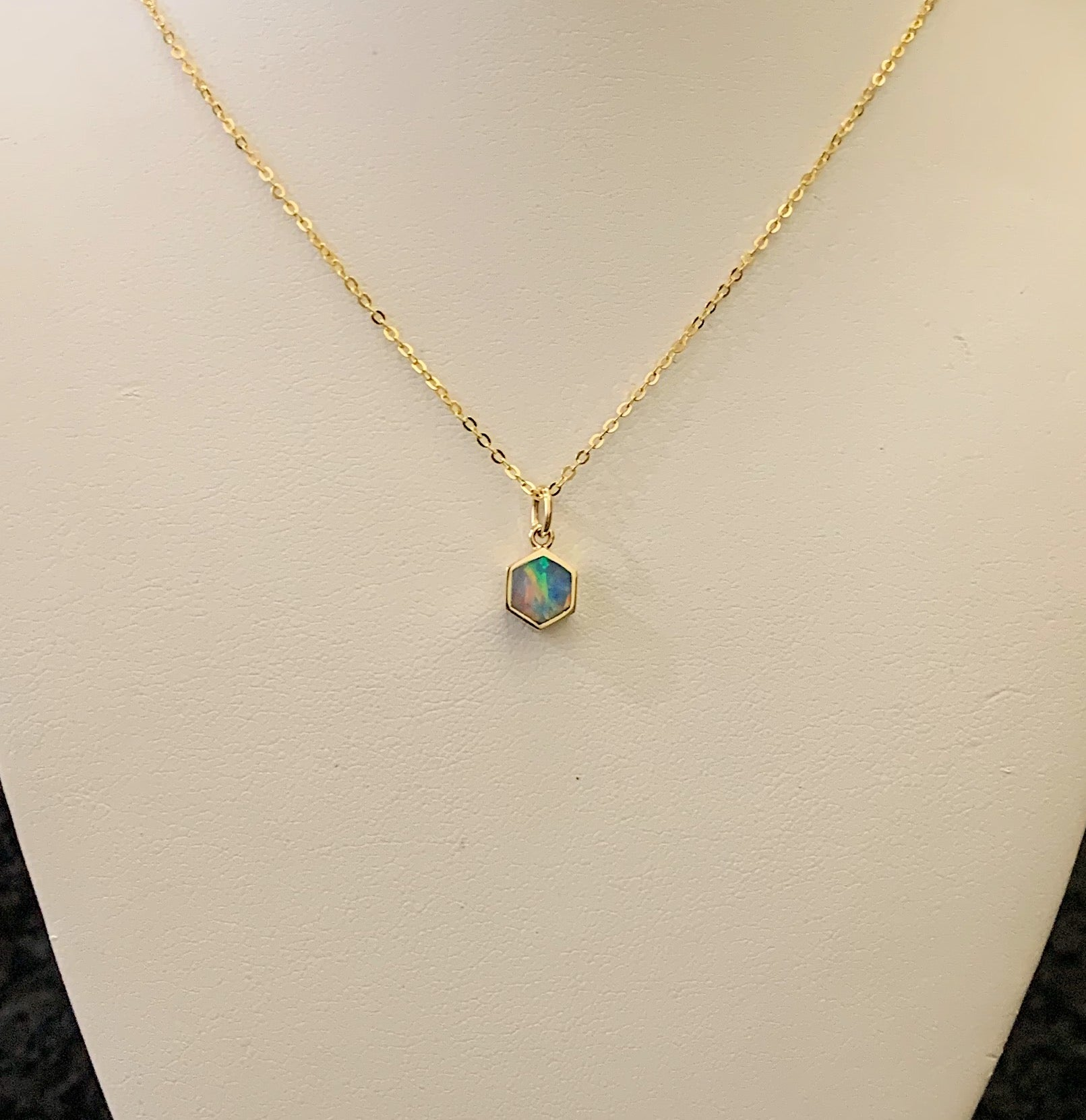 14k Yellow Gold Opal Doublet Petite Hexagon Pendant Necklace