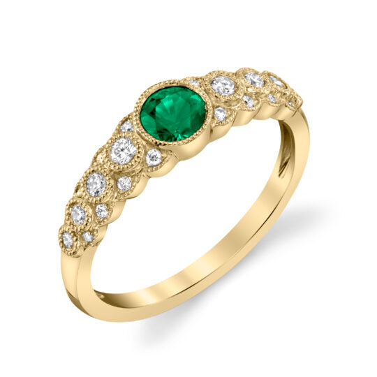 Emerald 14kt Yellow Gold Ring with Diamonds