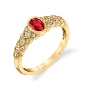 Ruby 14kt Yellow Gold Ring with Diamonds