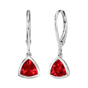Garnet 14kt White Gold Lever-Back Earrings