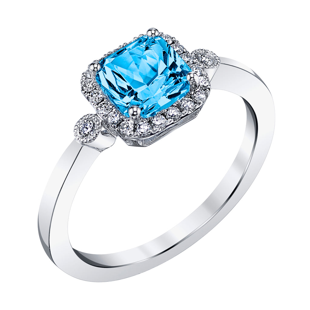 Blue Topaz 14kt White Gold Ring with Diamonds
