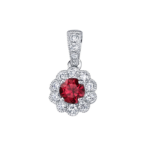 Ruby 14kt White Gold Pendant with Diamonds