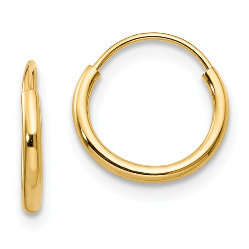 14k Yellow Gold 12mm Hoop Earrings