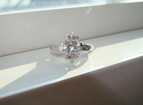 antique ring, white sapphire
