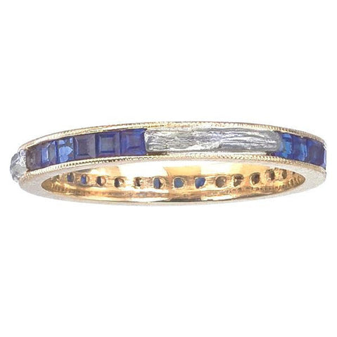 Deco Inspired Band with Sapphire and Platinum Branch Inlay | Barbara Michelle Jacobs Jewelry