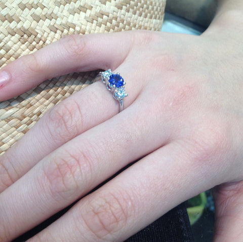 engagement ring, sapphires