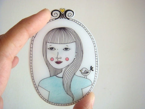 Shrink plastic brooch