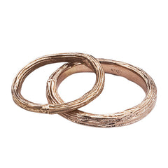 HIS AND HERS RUSTIC WEDDING RINGS CAST FROM CENTRAL PARK TREE BRANCHES IN 18K RECYCLED GOLD