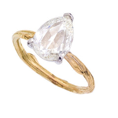 ROSE CUT PEAR SHAPED WHITE DIAMOND ON DELICATE SPRIG BAND