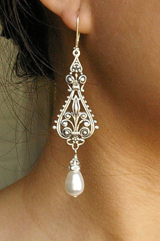 Vintage silver filigree bridal earrings.