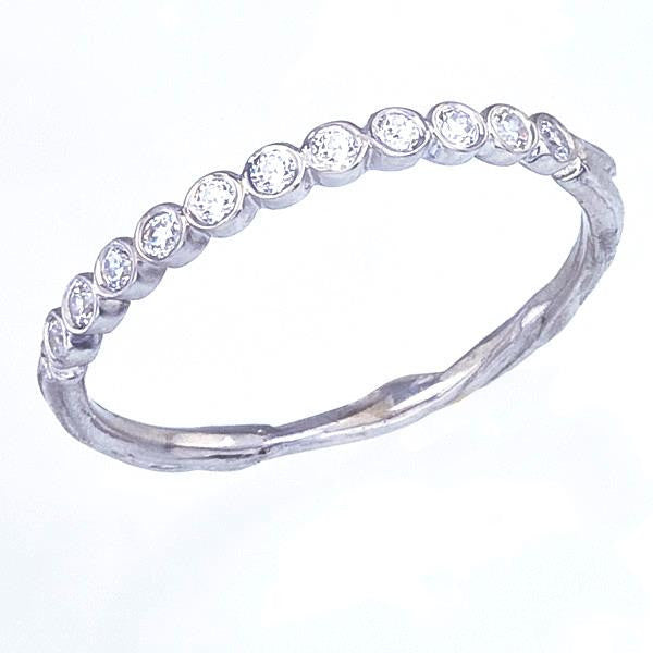 Diamond Wedding Eternity Ring in White Gold with Organic Twig Details. Tiny Bezel Set Diamonds, Recycled Gold. Narrow WeddingRing.