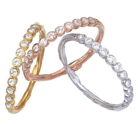 Narrow Diamond Eternity Ring with Twig Details, shown in Yellow, Rose and White Gold.  Eleven Wishes, Handmade in NYC of Recycled Gold.