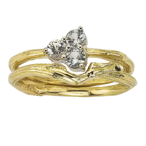 White sapphire engagement ring in 18K gold with matching wedding band.  Stacking ring set.  Natured inspired branch details