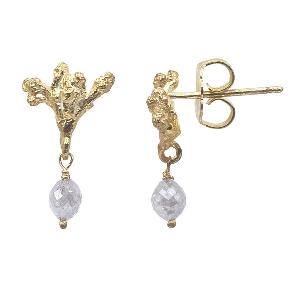 18K recycled gold post earrings with a dangling faceted diamond bead.  This unusual bead is a rough gray diamond. Designed by Barbara Polinsky.