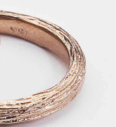 Organic Textured Wedding Band - Unisex - Eco Friendly Recycled in White, Yellow or Rose Gold
