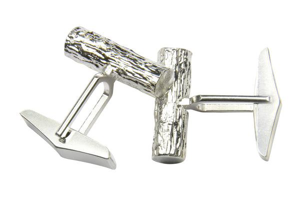 Twig Nature Inspired Organic Cuff Links in Eco-Friendly Silver - Gifts for Him