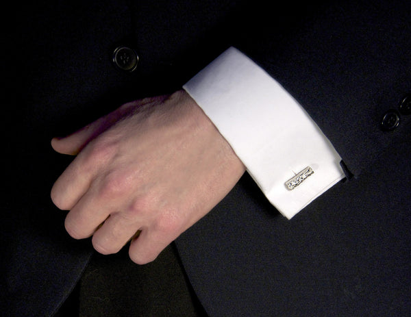 Simple Cuff Links - Sterling Silver with Branch from Nature - shown on model