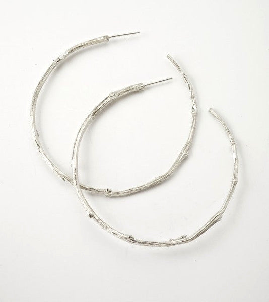 Side View of Sterling Silver Extra Large Twig Hoop Earrings