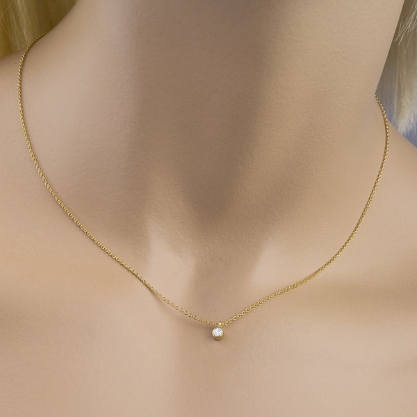 Champagne diamond pendant necklace. 14K gold. Designed by Barbara Polinsky.